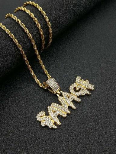 Gold Necklace Titanium letter  Rhinestone Irregular Initials Necklace