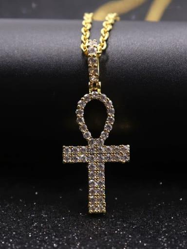 Gold  withchain Copper Cubic Zirconia Cross Hip Hop Pendant Necklace