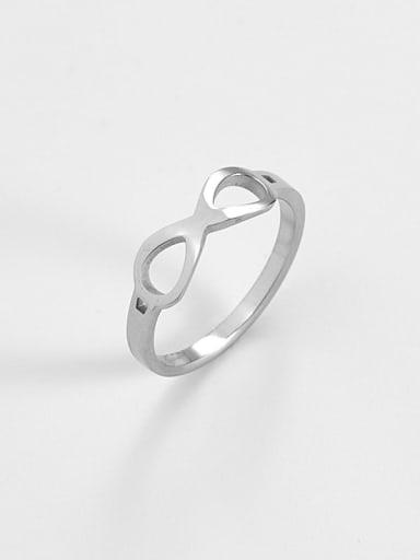 Steel color Titanium  Minimalist Hollow Nuber 8 Band Ring