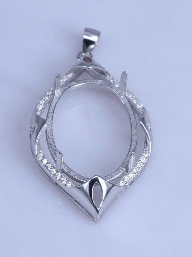925 Sterling Silver Round Pendant Setting Stone size: 18*25mm