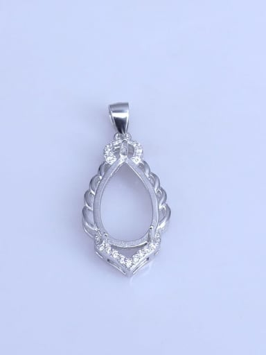 925 Sterling Silver Rhodium Plated Water Drop Pendant Setting Stone size:11*18mm