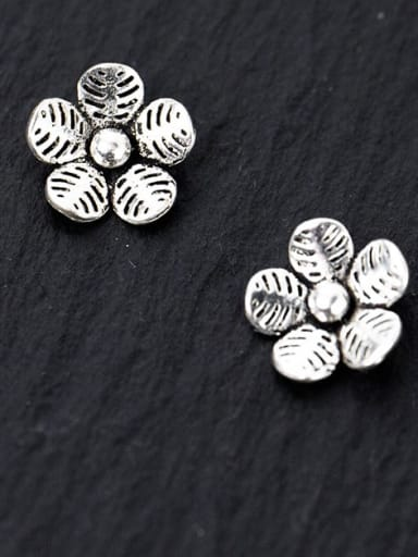 925 Sterling Silver Flower Charm Height : 9 mm , Width: 9 mm