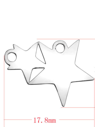 Stainless steel Star Charm Height : 17.8 mm , Width: 12 mm