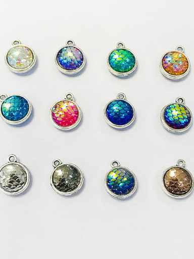 Zinc Alloy Multicolor Key Charm Diameter : 12mm