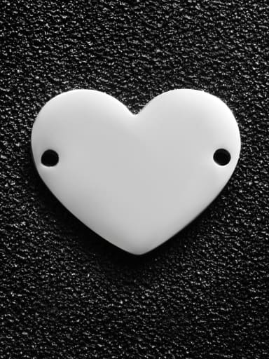 Steel color Stainless steel Heart Charm Height : 17 mm , Width: 20 mm