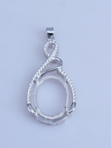 925 Sterling Silver Rhodium Plated Round Pendant Setting Stone size: 13*17mm