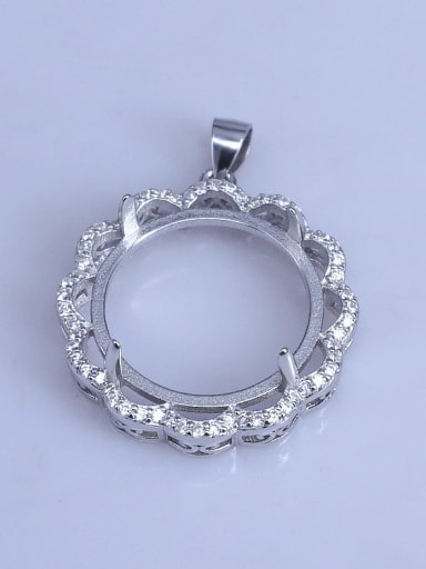 925 Sterling Silver Round Pendant Setting Stone size: 20*20mm