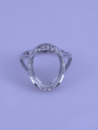 925 Sterling Silver 18K White Gold Plated Oval Ring Setting Stone size: 12*15mm