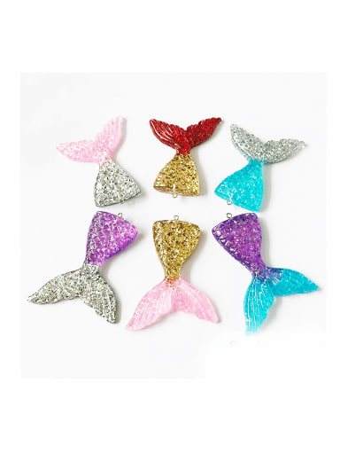 Multicolor Resin Fish Charm Height : 5.5 mm , Width: 7.2 mm