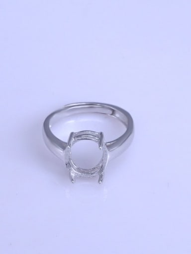 925 Sterling Silver 18K White Gold Plated Oval Ring Setting Stone size: 9*11mm
