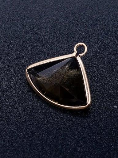 JA172 3x3 Brass Multicolor Glass Triangle Charm Height : 17 mm , Width: 19 mm