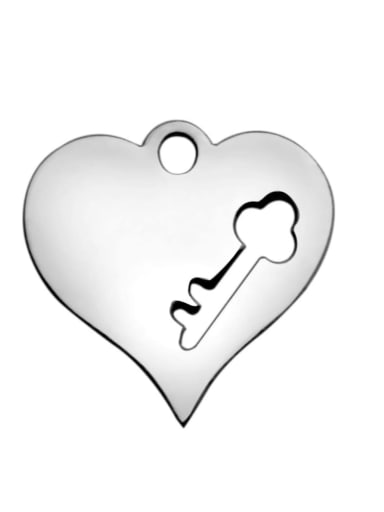 Stainless steel Key Heart Charm Height : 15 mm , Width: 14.8 mm