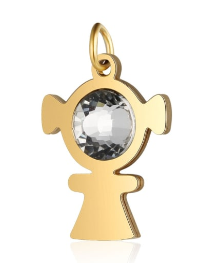 X T582D 2 Stainless steel White Cubic Zirconia Charm Height : 14 mm , Width: 23 mm
