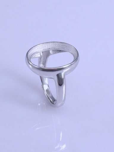 925 Sterling Silver 18K White Gold Plated Geometric Ring Setting Stone size: 14*18mm