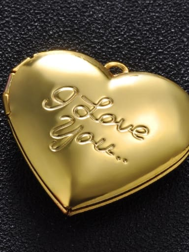 golden Copper Message Heart Charm Height : 28.7mm , Width: 28.7 mm