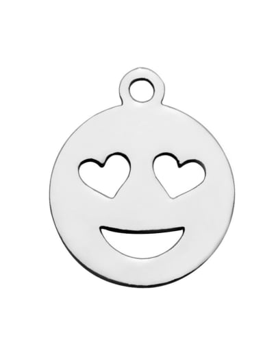 Stainless steel Heart Face Charm Height : 14 mm , Width: 12 mm