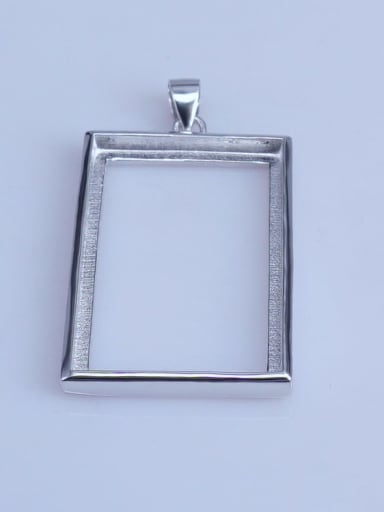 925 Sterling Silver 18K White Gold Plated Rectangle Pendant Setting Stone size: 13*17 16*22 16*26 20*30mm