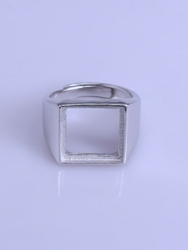 925 Sterling Silver 18K White Gold Plated Square Ring Setting Stone size: 13*13mm