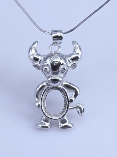 Cattle (8*10) 925 Sterling Silver Zodiac Pendant Setting Stone size: 8*10 9*11 10*14mm