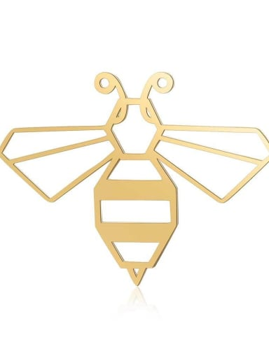 JA121 2x5 Stainless steel bee gold plated Charm Height : 40 mm , Width: 29 mm