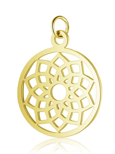 T523G Stainless steel Round Flower Charm Height : 19 mm , Width: 26 mm