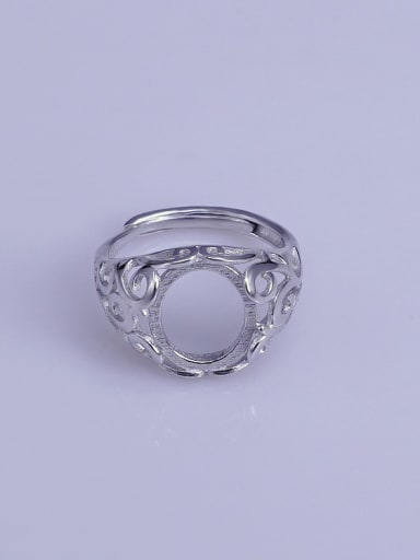 925 Sterling Silver 18K White Gold Plated Geometric Ring Setting Stone size: 10*12mm