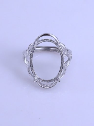 925 Sterling Silver 18K White Gold Plated Geometric Ring Setting Stone size: 15*19mm