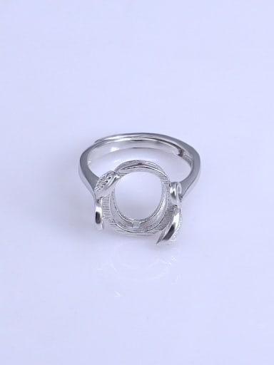 925 Sterling Silver 18K White Gold Plated Oval Ring Setting Stone size: 11*13mm