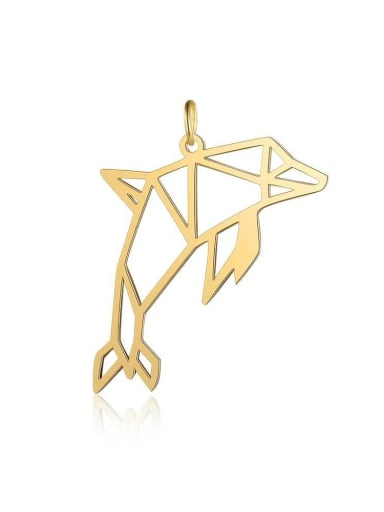JA118 2x5 Stainless steel Dolphin gold platedCharm Height : 38 mm , Width: 22 mm