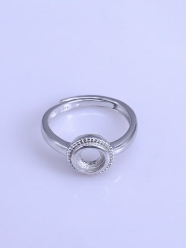 925 Sterling Silver 18K White Gold Plated Round Ring Setting Stone size: 6*6mm