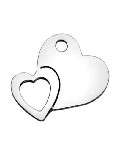 Stainless steel Heart Charm Height : 13.6 mm , Width: 12 mm