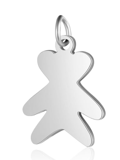 X T549D 1 Stainless steel Bear Charm Height : 12.5 mm , Width: 20 mm
