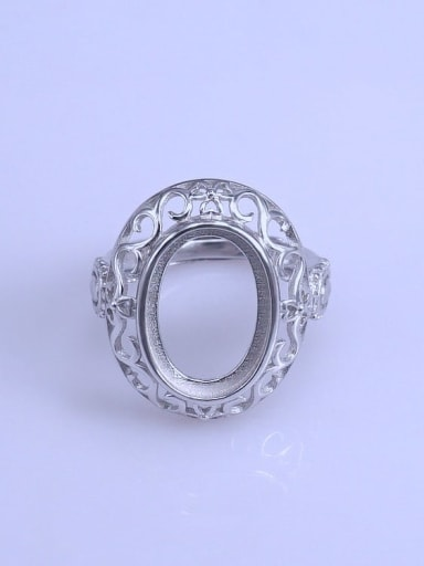 925 Sterling Silver 18K White Gold Plated Geometric Ring Setting Stone size: 11*16mm
