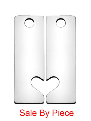 Stainless steel Heart Charm Height : 16.9 mm , Width: 5.4 mm