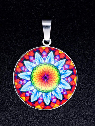 Stainless steel Multicolor Millefiori Glass Round Charm Height : 38mm , Width: 26.5mm