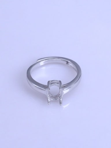 925 Sterling Silver 18K White Gold Plated Oval Ring Setting Stone size: 6*8mm