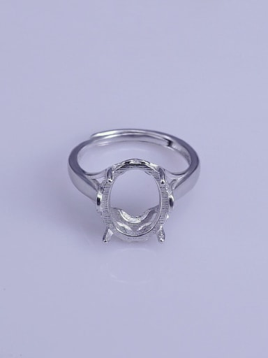 925 Sterling Silver 18K White Gold Plated Geometric Ring Setting Stone size: 10*13mm