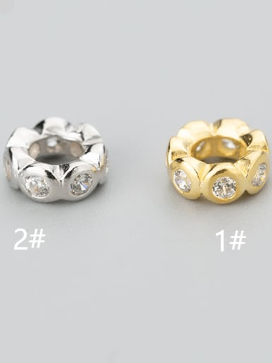 925 Sterling Silver Round  Plated Platinum Charm Height : 7 mm , Width: 7 mm