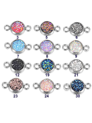 Multicolor Resin Round Charm Diameter : 8mm