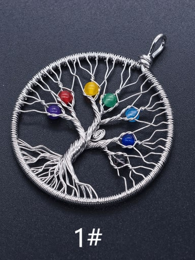 Stainless steel Tree Round Charm Height : 63.5 mm , Width: 51.5 mm