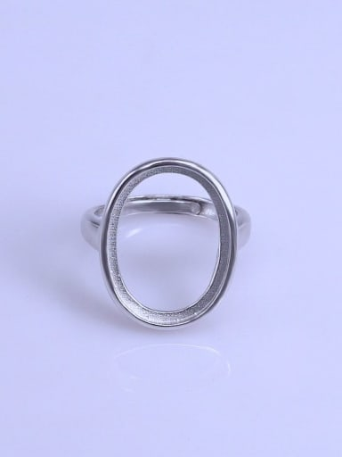 925 Sterling Silver 18K White Gold Plated Geometric Ring Setting Stone size: 15*20mm