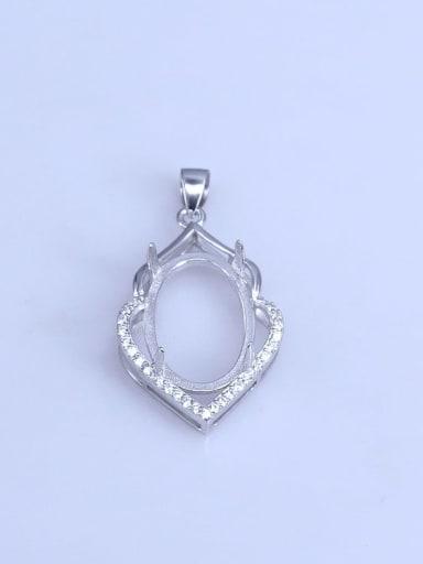 925 Sterling Silver Rhodium Plated Geometric Pendant Setting Stone size: 13*20mm