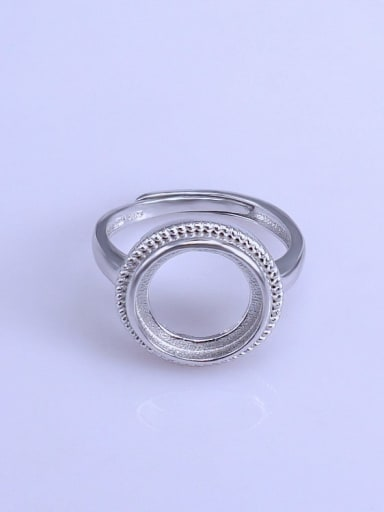 925 Sterling Silver 18K White Gold Plated Geometric Ring Setting Stone size: 12*12mm