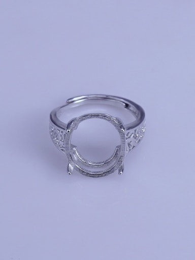 925 Sterling Silver 18K White Gold Plated Geometric Ring Setting Stone size: 12*15mm