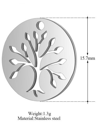 Stainless steel Tree Charm Diameter : 15.7mm
