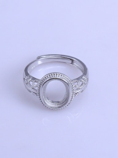 925 Sterling Silver 18K White Gold Plated Geometric Ring Setting Stone size: 8*10mm