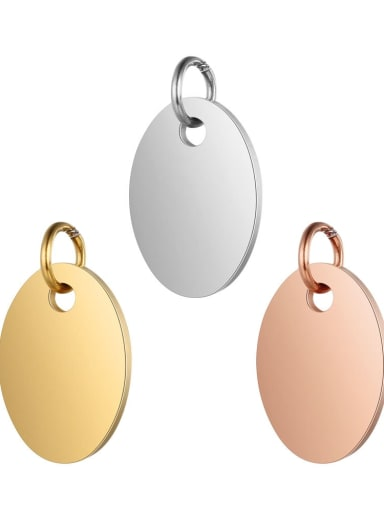Stainless steel Round Charm Height : 9.5 mm , Width: 17 mm