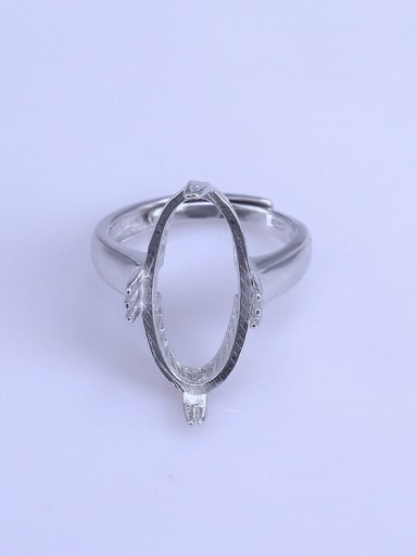 925 Sterling Silver 18K White Gold Plated Geometric Ring Setting Stone size: 10*20mm