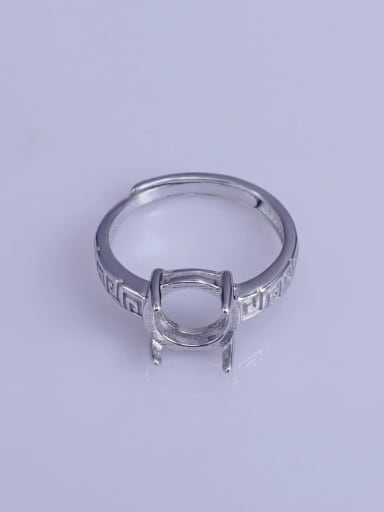 925 Sterling Silver 18K White Gold Plated Geometric Ring Setting Stone size: 9*9mm