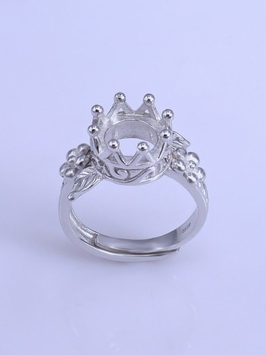 925 Sterling Silver 18K White Gold Plated Crown Ring Setting Stone size: 9*9mm